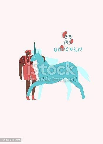 Girl with unicorn. Handwritten text: be my unicorn