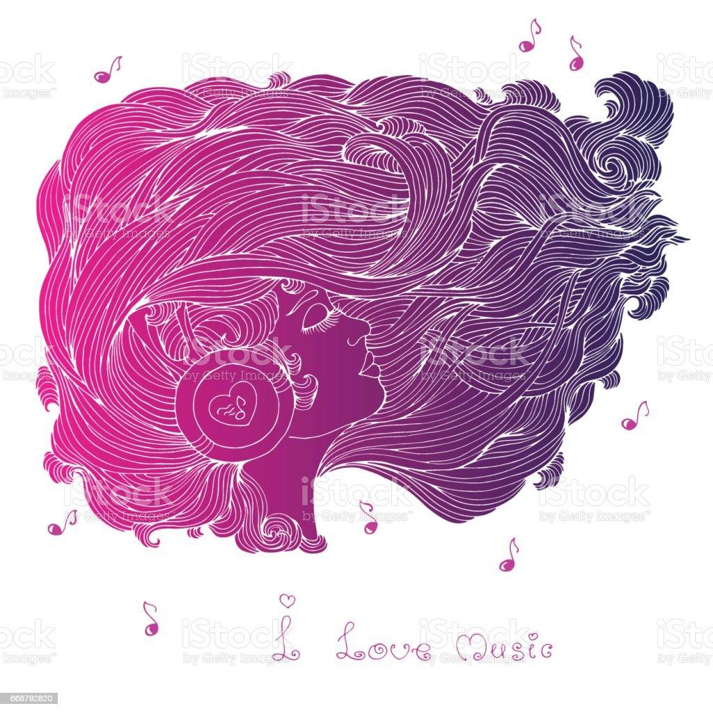 Fille Avec Des Cheveux Ondulés écouter De La Musique Au Casque