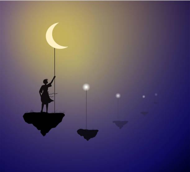 stockillustraties, clipart, cartoons en iconen met meisje met witte maan staande op de flying rock, houd de maan op de hemel, het leven op de flying rock, schaduwen, vector - solitair
