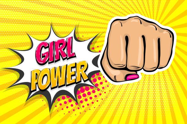 stockillustraties, clipart, cartoons en iconen met meisje vrouw macht vuist pop-art stijl - punch