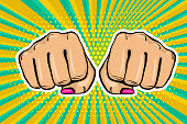 Woman fist - Girl power strong vector illustration. Cartoon pop art style halftone background. Female rights industry. Feminism colored symbol design. Fight poster protest.