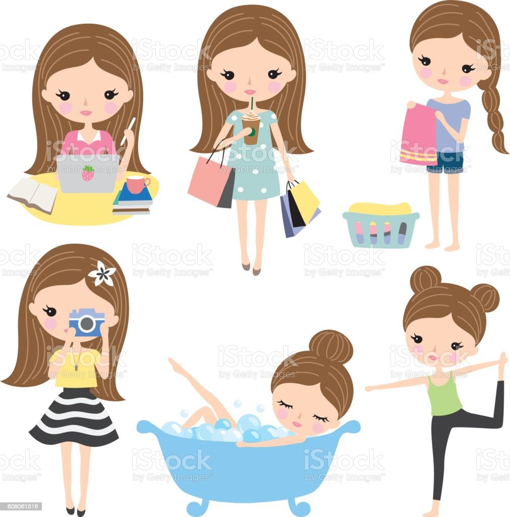 Girl Woman Routine Lifestyle vector art illustration