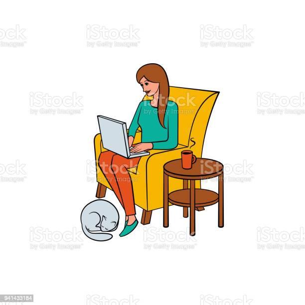 Girl woman working from home freelancer and cat vector id941433184?b=1&k=6&m=941433184&s=612x612&h=lod5srobrpqtmrpgtbepaou5cua3ohbx41ggh8oorua=