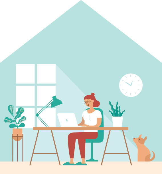 Girl work in comfortable conditions Freelancer character working from home remotely vector art illustration