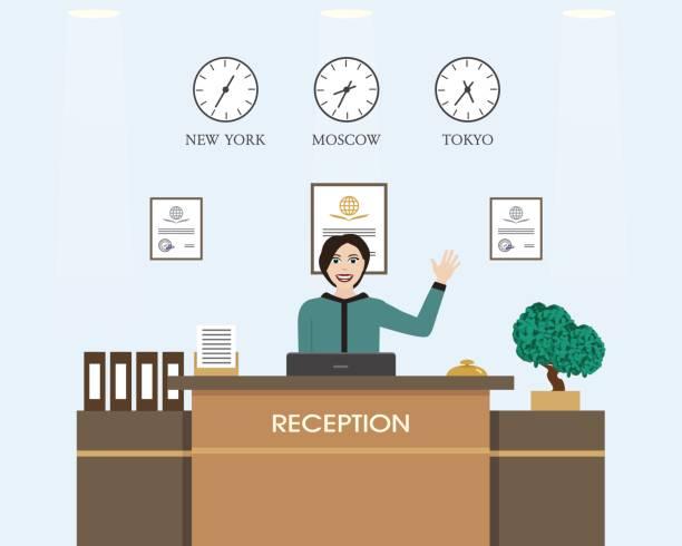 mädchen an der rezeption arbeiten.  flaches design. - chefin stock-grafiken, -clipart, -cartoons und -symbole