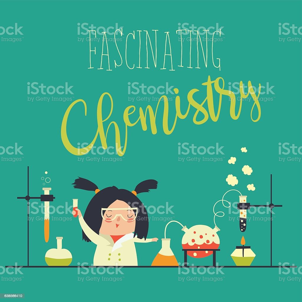 Girl working in the chemistry laboratory vector art illustration