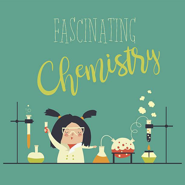 ilustrações, clipart, desenhos animados e ícones de girl working in the chemistry laboratory - aula de ciências