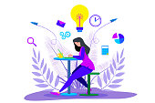 istock Girl working on laptop and  Businessman standing 1201847822