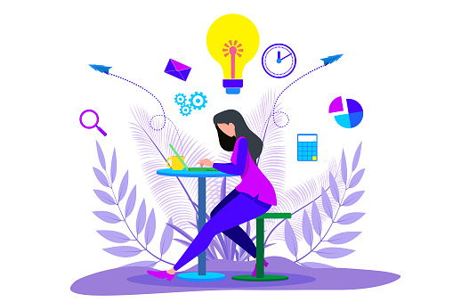 Girl working on laptop and  Businessman standing