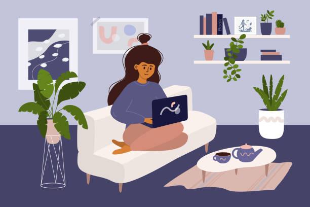 stockillustraties, clipart, cartoons en iconen met meisje dat aan laptop thuis in gezellig binnenland werkt - alleen één meisje