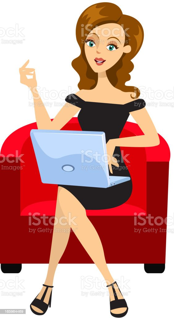Girl Working on Laptop royalty-free stock vector art