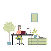 Girl works at a laptop at home. Vector illustration