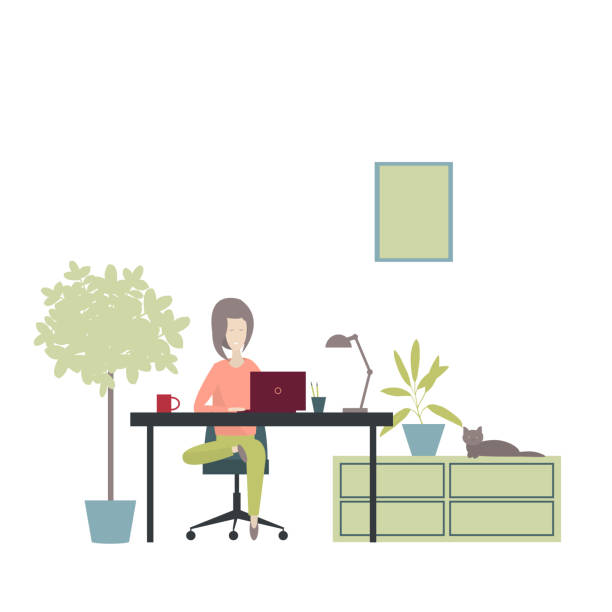 Girl works at a laptop at home. Girl works at a laptop at home. Vector illustration businesswear stock illustrations