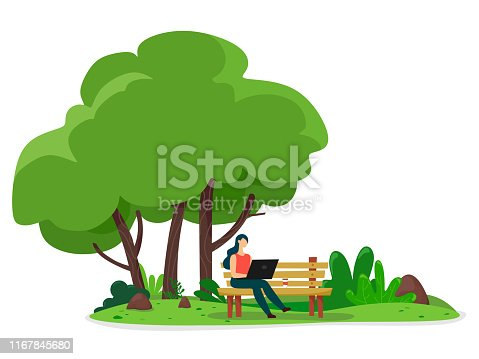 Girl works on a laptop on a bench in the park. Street light. Vector illustration on a white background.