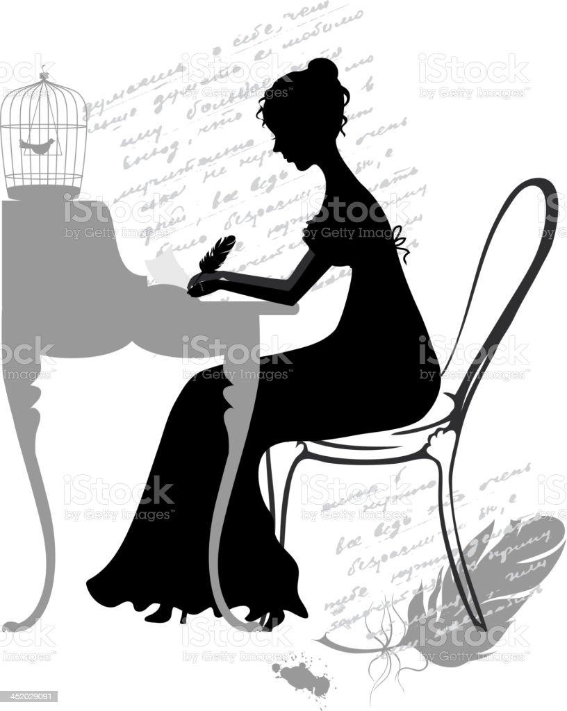 Girl writes letter vector art illustration