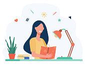 istock Girl writing in diary or journal isolated flat vector 1271367191
