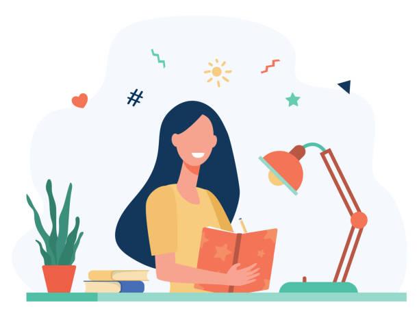 stockillustraties, clipart, cartoons en iconen met het schrijven van het meisje in dagboek of dagboek geïsoleerde vlakke vector - woman home magazine