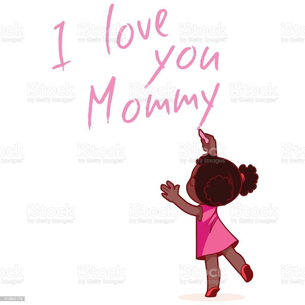 Girl writing on the wall 'I love you Mommy'. vector art illustration