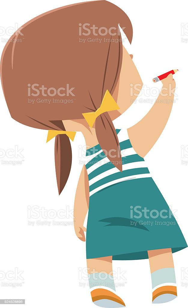 royalty free girl back clip art vector images illustrations istock rh istockphoto com boy and girl writing clipart girl writing on the board clipart