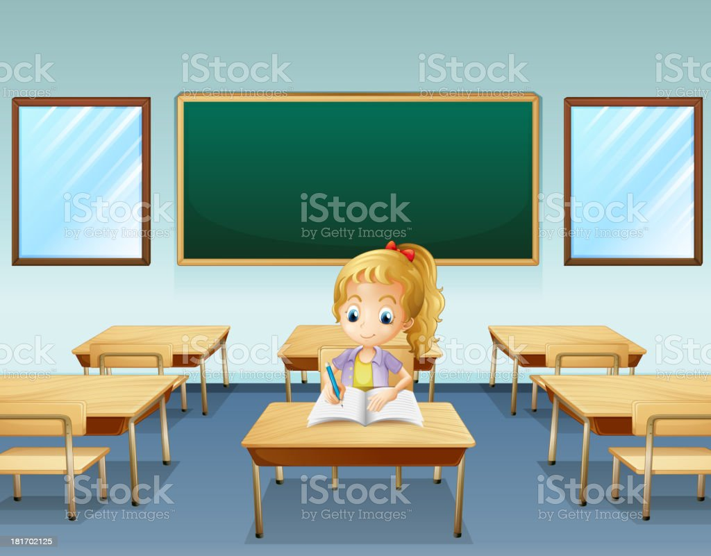Girl writing with an empty board at the back royalty-free girl writing with an empty board at the back stock vector art & more images of adult