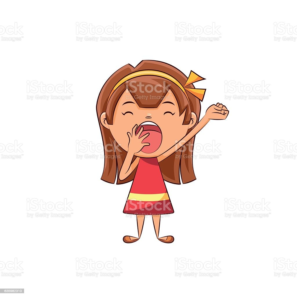 Girl yawning vector art illustration