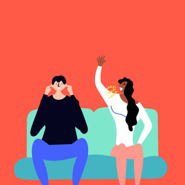 Girl yells at a guy. The young man ignores and does not listen to the girl. Stressful situations quarrel Girl yells at a guy. The young man ignores and does not listen to the girl. Stressful situations quarrel. Editable Vector Illustration hands covering ears stock illustrations