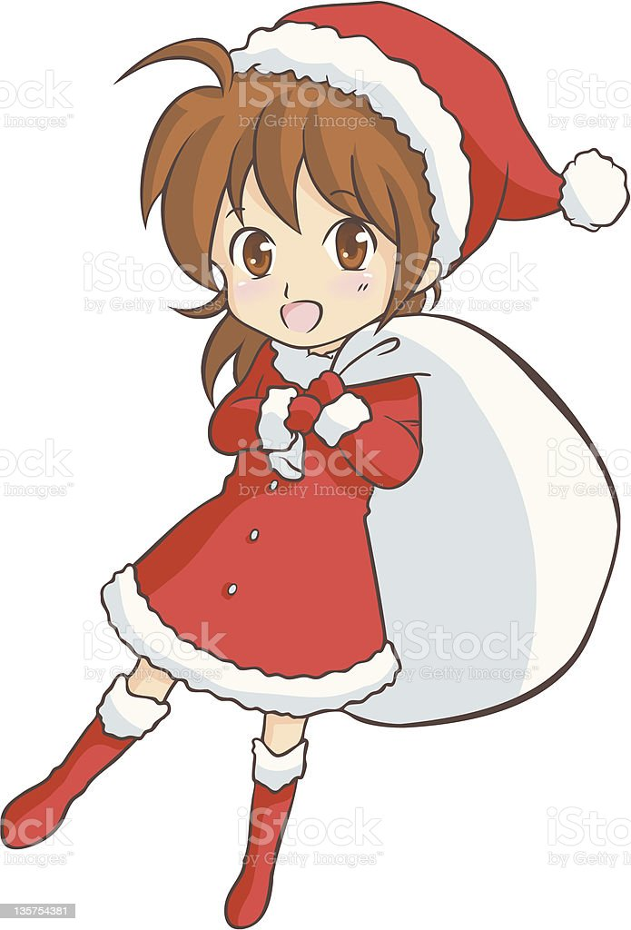 girl_Christmas vector art illustration