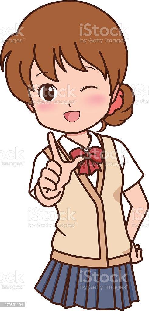 girl_pose vector art illustration