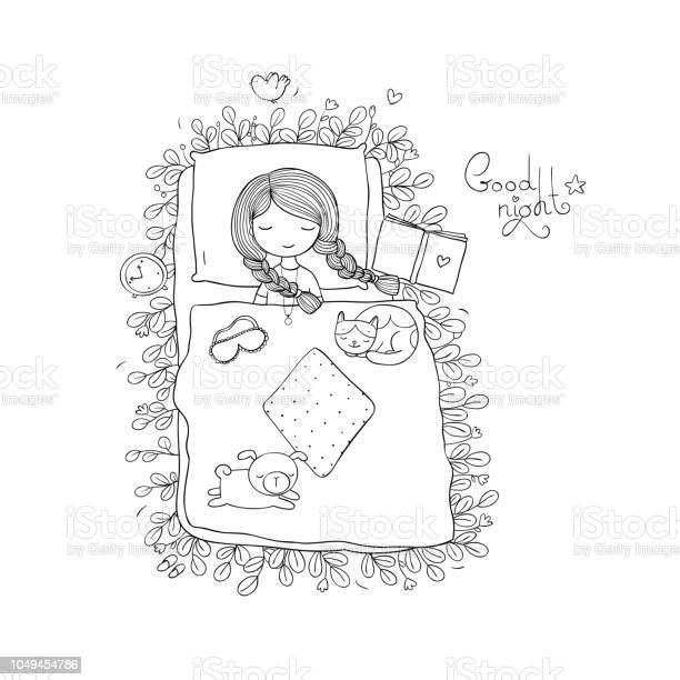 Girlcats and dog sleep in bedgood night sweet dreams bed time spring vector id1049454786?b=1&k=6&m=1049454786&s=612x612&h=vk3dgmzv08vjfjq3dyaps z2e ab nhrd5d8b6hs9wi=