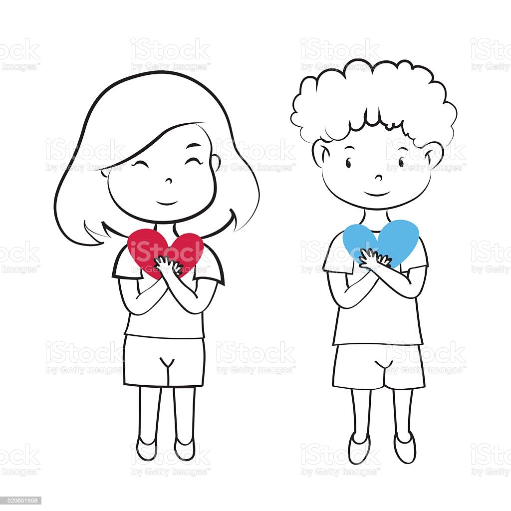 Girlfriend And Boyfriend Couple Smile Hold Heart Vector
