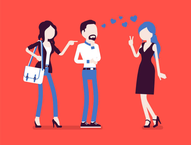 freundin gefühl eifersüchtig - vertrauensbruch stock-grafiken, -clipart, -cartoons und -symbole