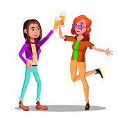 Girlfriends At Party Clinking Beer Glasses Vector Characters