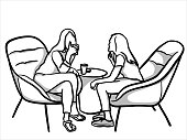 Two women sharing a coffee