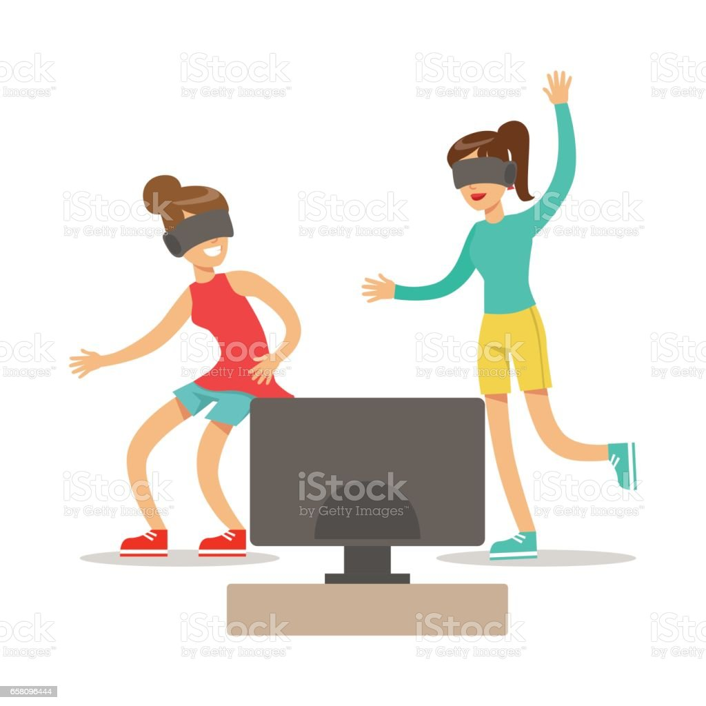 Girlfriends In Virtual Reality Glasses,Part Of Happy Gamers Enjoying Playing Video Game, People Indoors Having Fun With Computer Gaming royalty-free girlfriends in virtual reality glassespart of happy gamers enjoying playing video game people indoors having fun with computer gaming stock vector art & more images of adult
