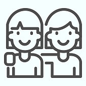 Girlfriends line icon. Two girls hugging each other vector illustration isolated on white. Girl friendship outline style design, designed for web and app. Eps 10