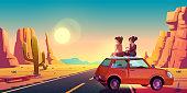 istock Girlfriends on car roof admire beautiful sunset 1334441076