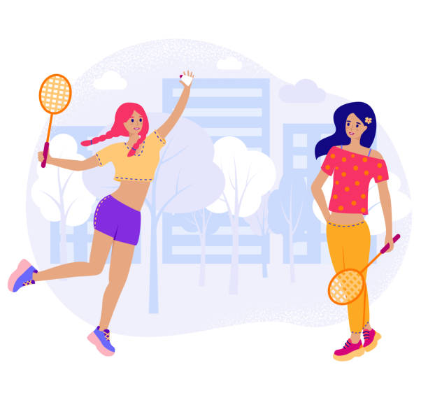 girlfriends play in badminton outside. two young girl in flat cartoon stile with rackets and shuttlecock play in city park. vector stock illustration isolated on white background. - badminton smash stock illustrations