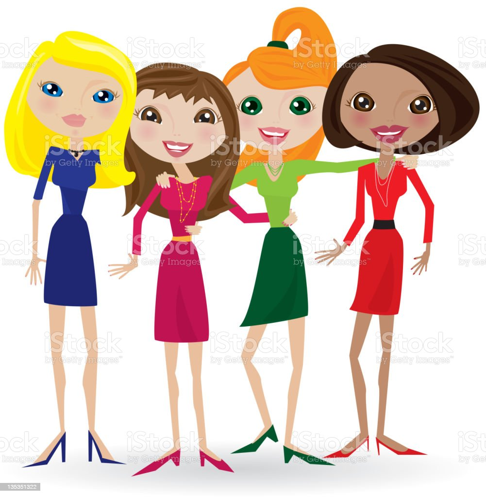 Girlfriends wearing heels, dresses and skirts, women smiling royalty-free stock vector art