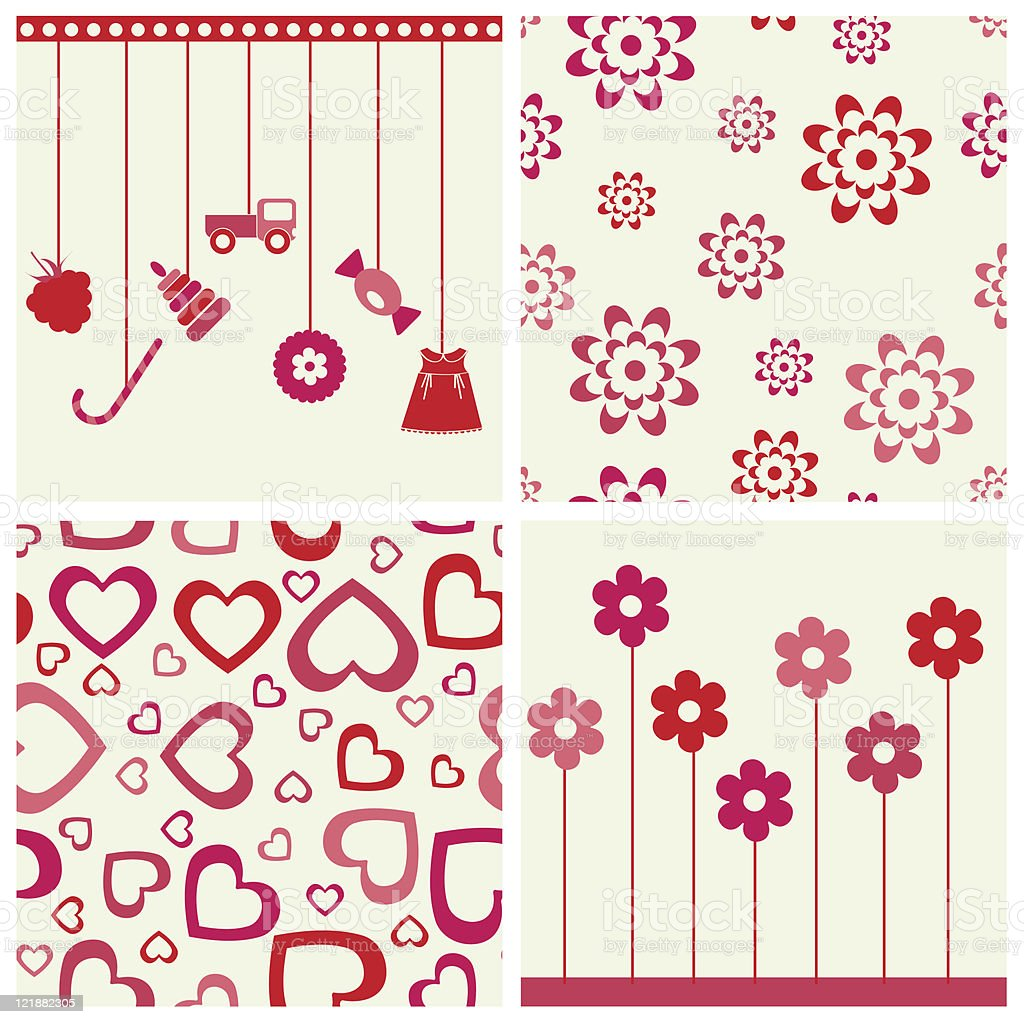 Girlie seamless background and objects set. royalty-free stock vector art