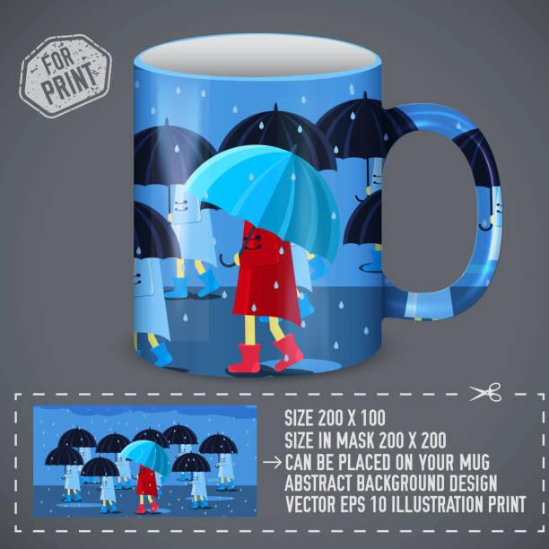 illustrazioni stock, clip art, cartoni animati e icone di tendenza di girlie with umbrella  around of people. colorful art design for print on a cup. vector illustration concept - mockup outdoor rain