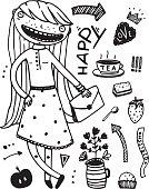 Girlish Fashion Cartoon design outline elements