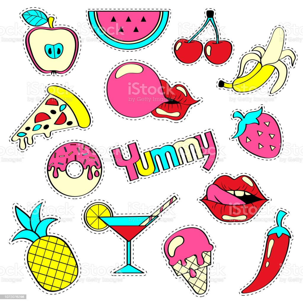 Girlish patch badges with banana, strawberry, watermelon, ice cream, cocktail, pineapple, bubble gum, lips, pizza, cherry. Stickers set. Yummy collection vector art illustration
