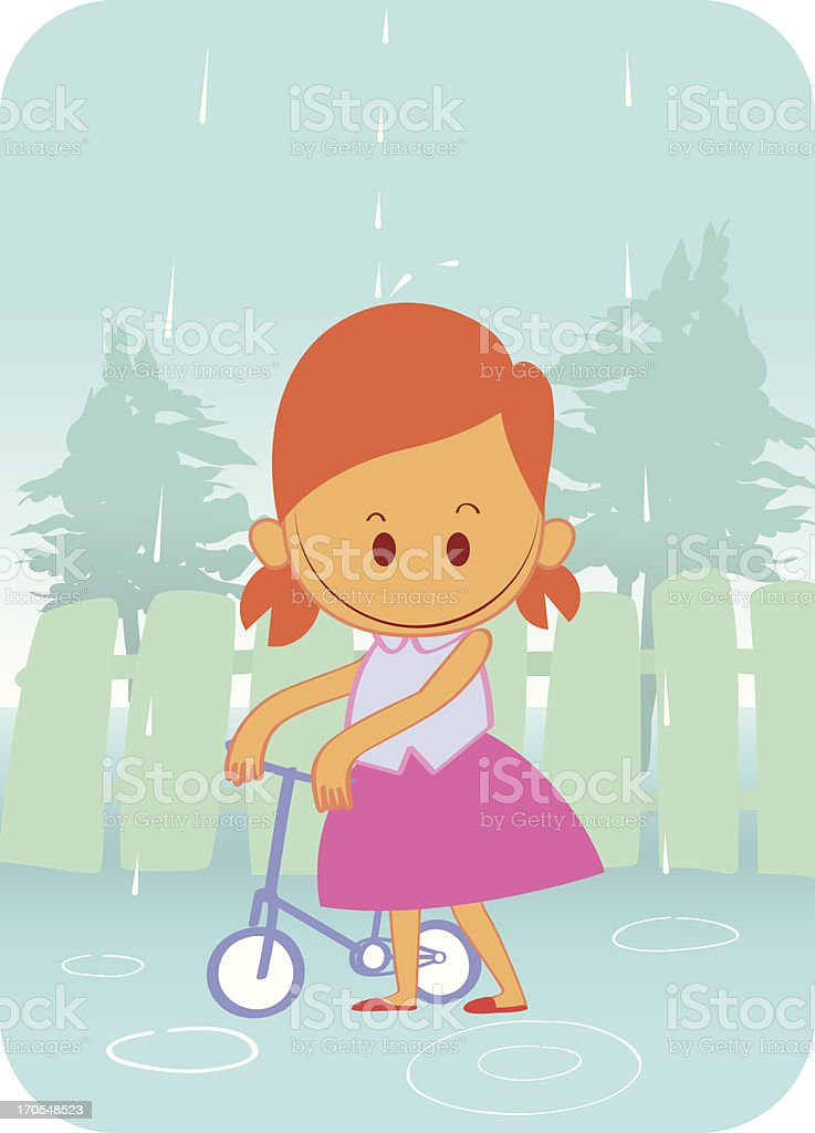 girls and bike in the rain royalty-free stock vector art