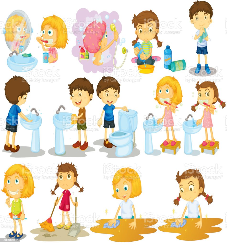 Girls and boys doing chores vector art illustration