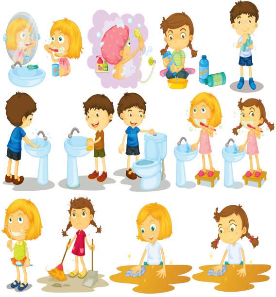 ilustraciones, imágenes clip art, dibujos animados e iconos de stock de las niñas y niños haciendo tareas - tareas domésticas