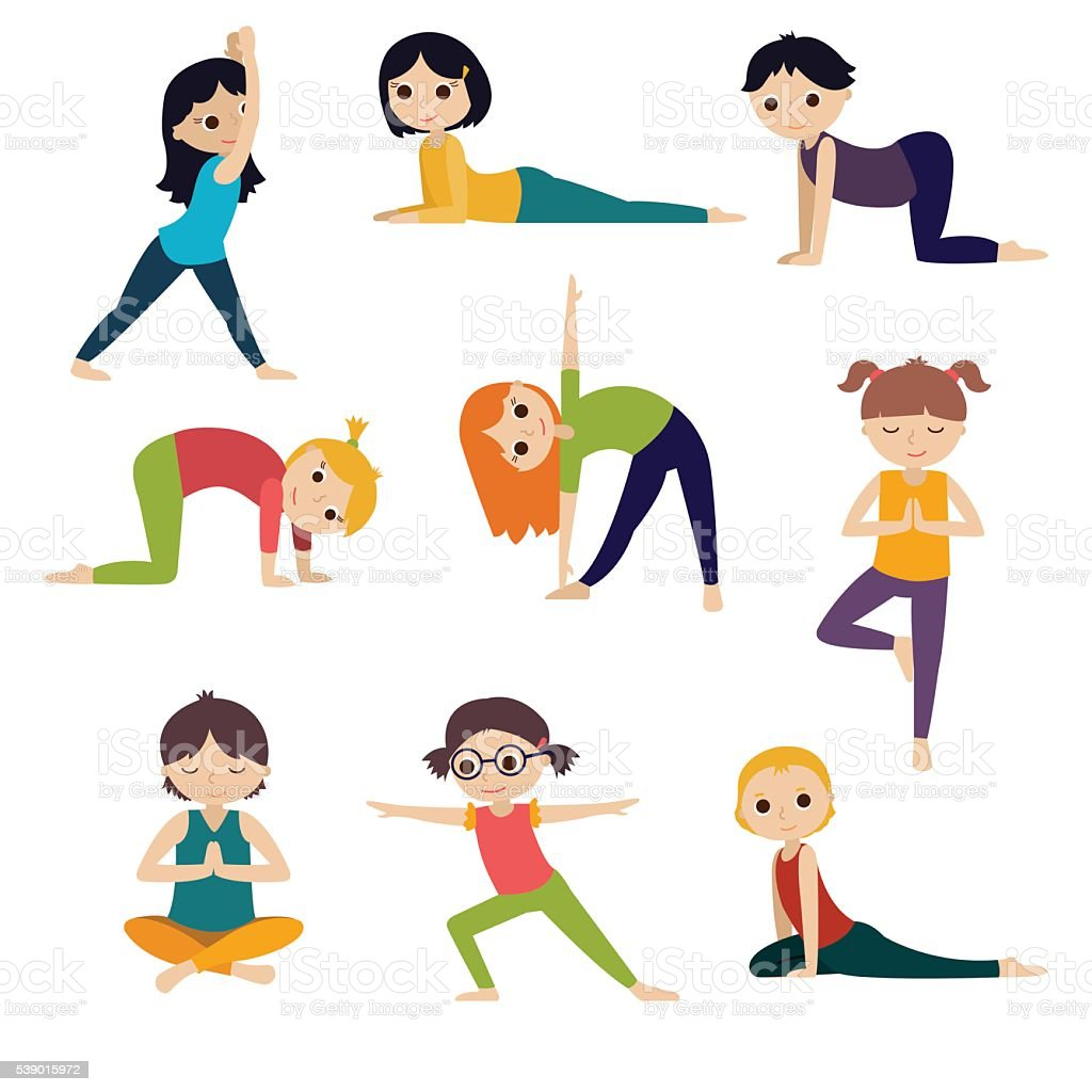 Girls And Boys Doing Yoga Cute Kids Set Stock Vector Art More Rh Istockphoto Com Social Skills Clip Zen