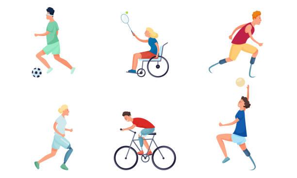 女孩和男孩殘疾或殘疾做運動向量插圖 - 健康科技 幅插畫檔、美工圖案、卡通及圖標