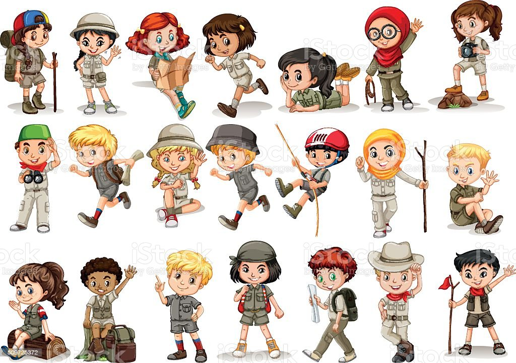 Girls And Boys In Camping Costume Royalty Free Stock Vector Art