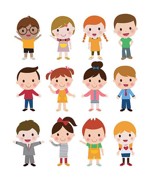 girls and niños - ilustración de arte vectorial
