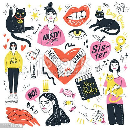 Vector illustration of feminist symbols, girls and funny angry cats in doodle style. Isolated on white background.